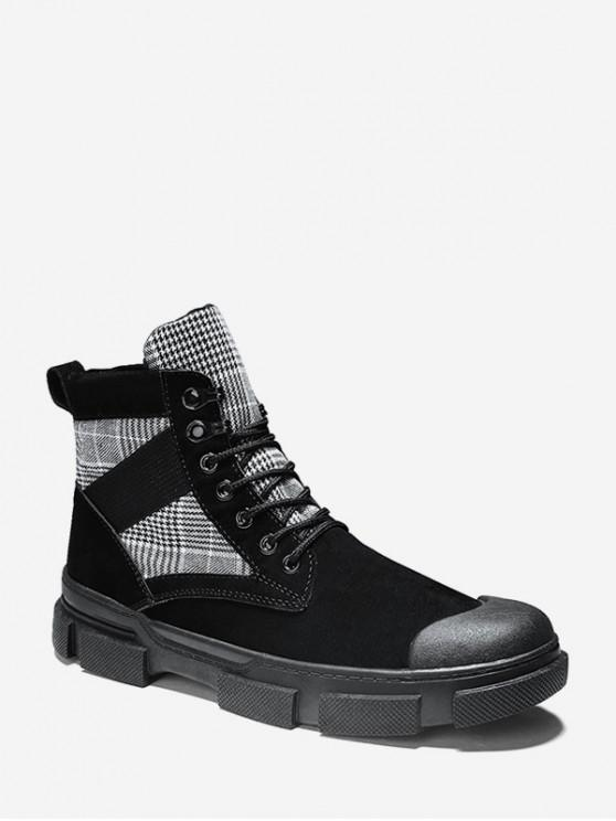 outfits Houndstooth Panel Lace Up Cargo Boots - BLACK EU 39