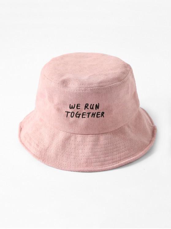 Chic ตัวอักษรปัก Bucket Hat - สีชมพู