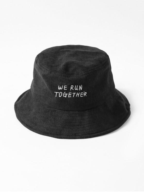 trendy Chic Character Embroidered Bucket Hat - BLACK