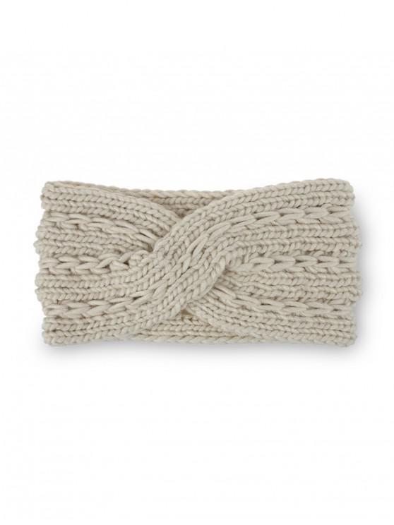 冬季十字蝴蝶結針織發帶 - 米色
