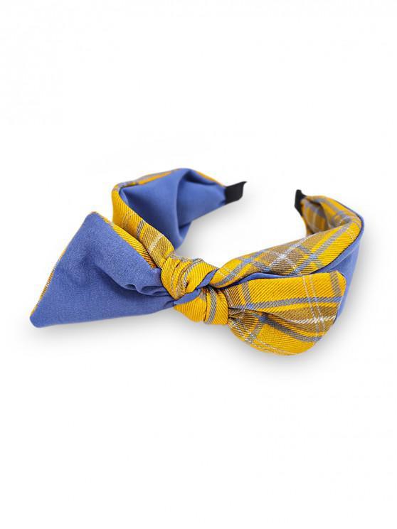 unique Colorblock Plaid Fabric Bowknot Hairband - BLUE