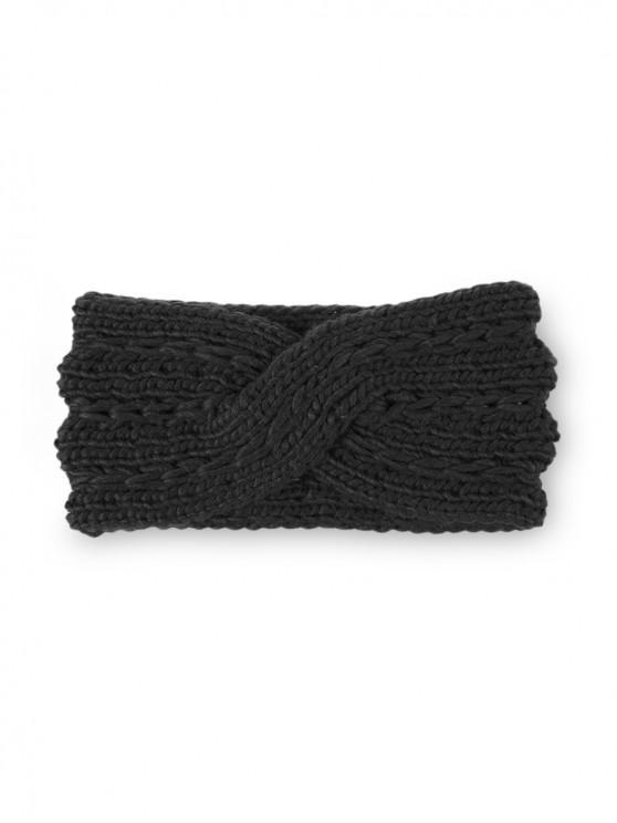 Cruz invierno Bowknot de banda para el cabello de punto - Negro