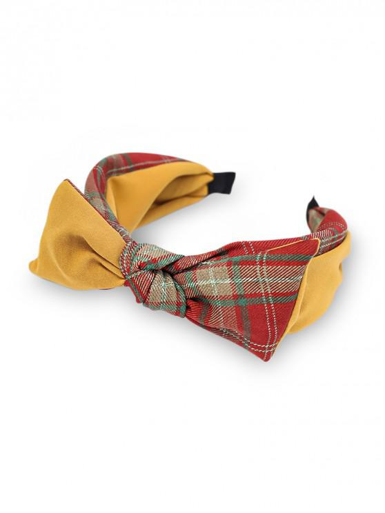 outfits Colorblock Plaid Fabric Bowknot Hairband - YELLOW