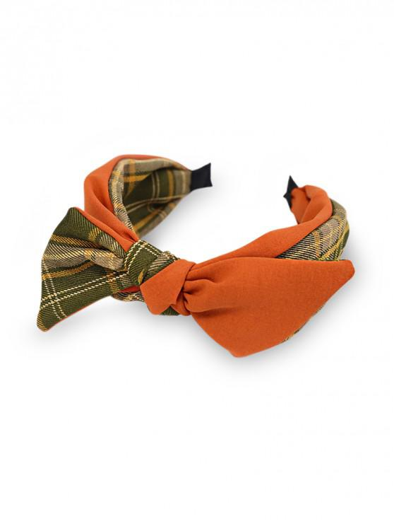 shop Colorblock Plaid Fabric Bowknot Hairband - TIGER ORANGE