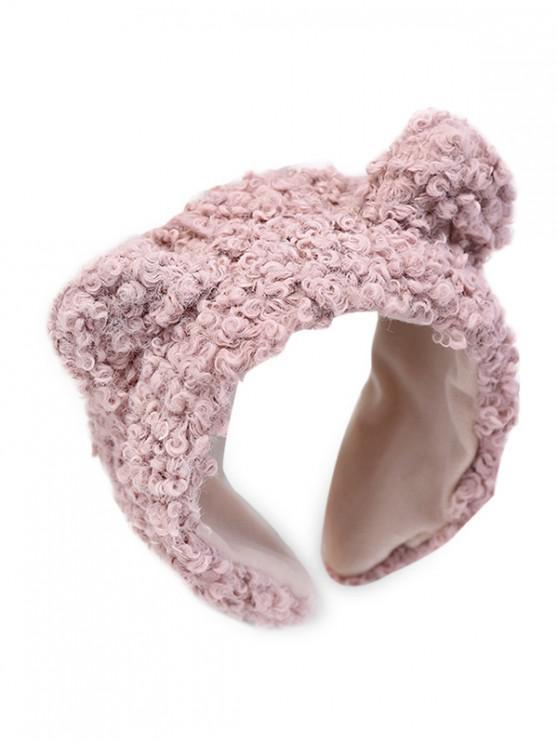 women Animal Ears Wide Faux Wool Hairband - PINK