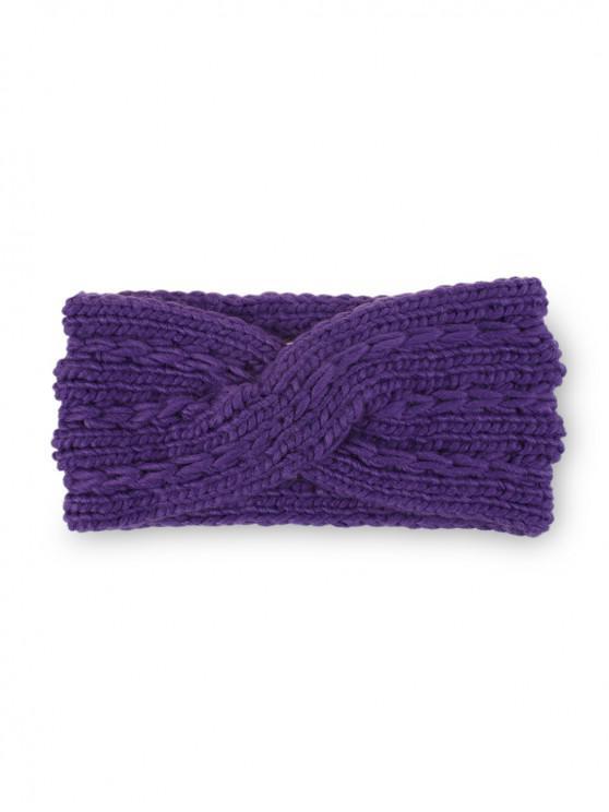 冬季十字蝴蝶結針織發帶 - 紫色