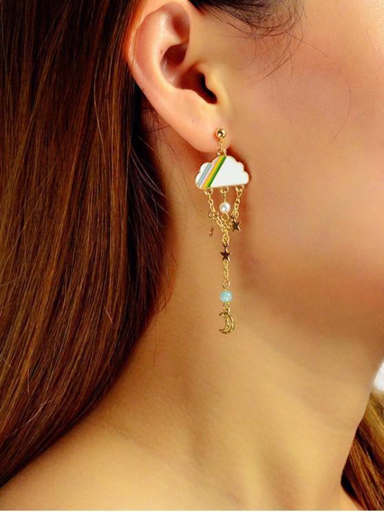 sale Moon Star Clouds Drop Earrings - GOLD