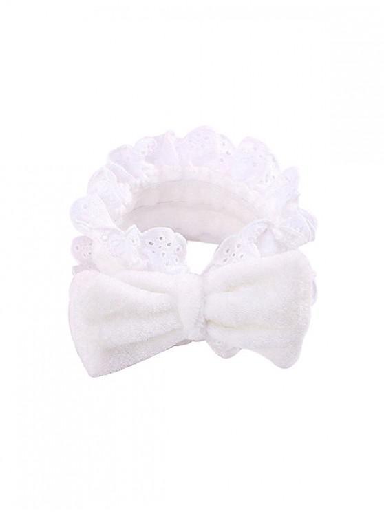 women Bowknot Lace Elastic Washing Headband - WHITE
