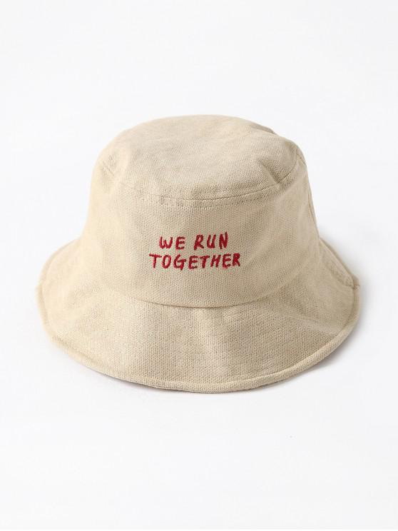 sale Chic Character Embroidered Bucket Hat - BEIGE