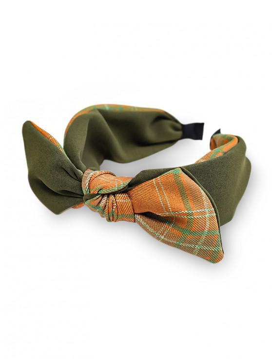 ladies Colorblock Plaid Fabric Bowknot Hairband - ARMY GREEN