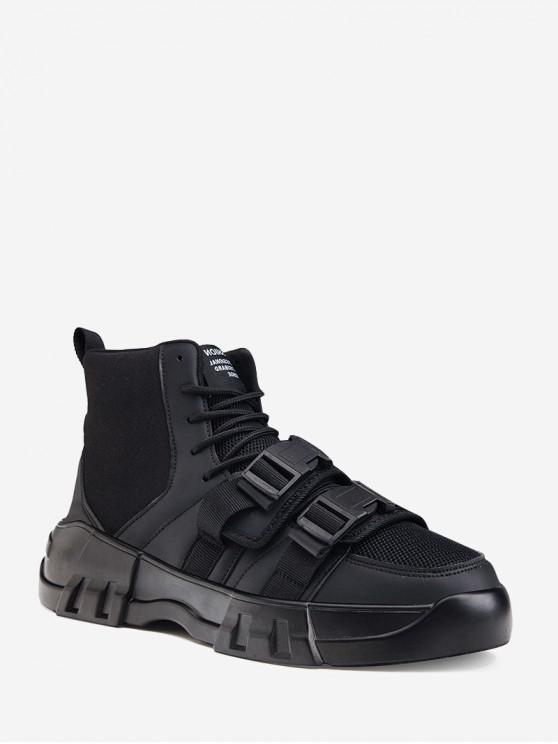 best Dual Clasp Buckle Breathable Casual Short Boots - BLACK EU 44