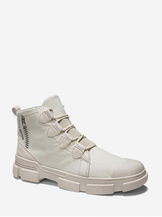 fancy Zip Pattern Lace Up Canvas Boots - BEIGE EU 41