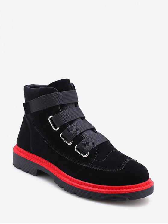 women's Faux Suede Hook Loop Cargo Boots - BLACK EU 39