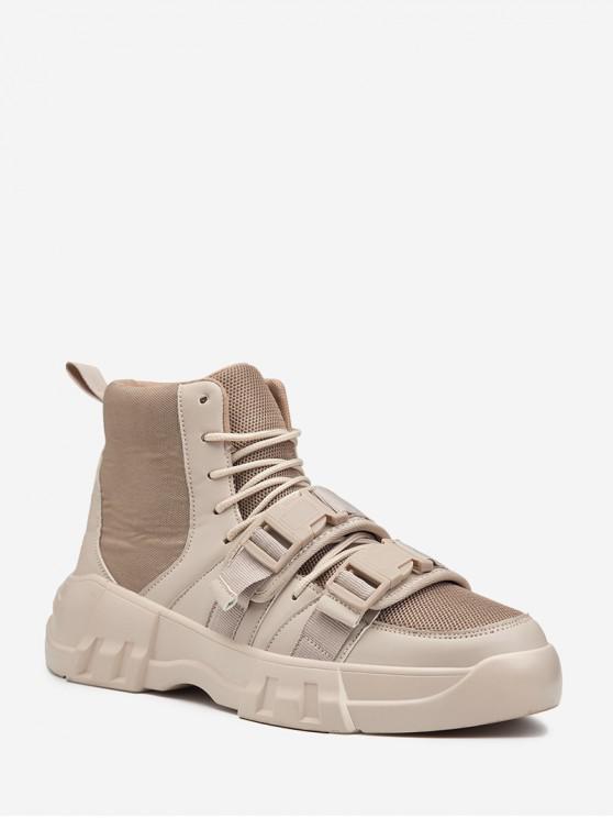 sale Dual Clasp Buckle Breathable Casual Short Boots - BEIGE EU 42