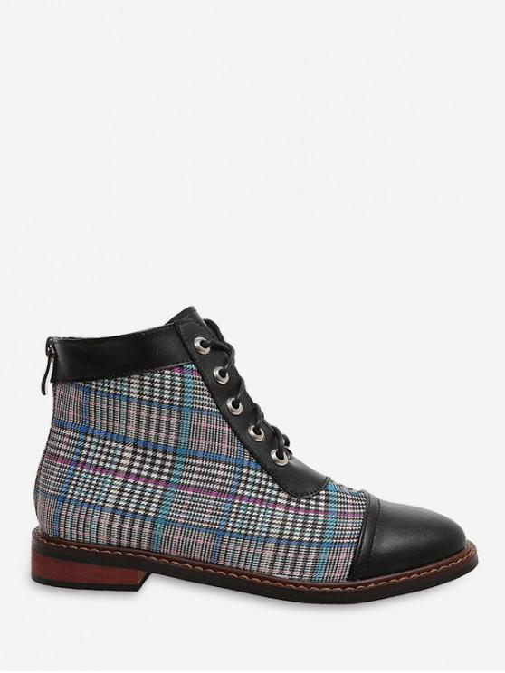 affordable Leather Trim Houndstooth Ankle Boots - PEACOCK BLUE EU 39