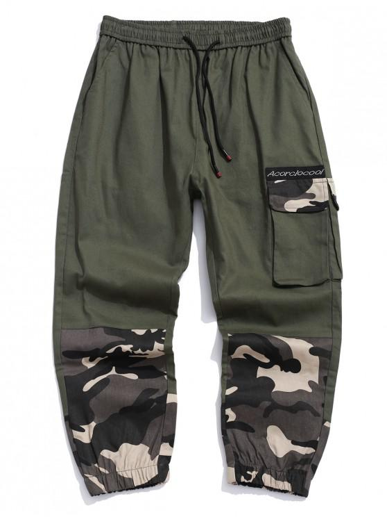 shops Camo Letter Printed Casual Jogger Pants - ARMY GREEN XS