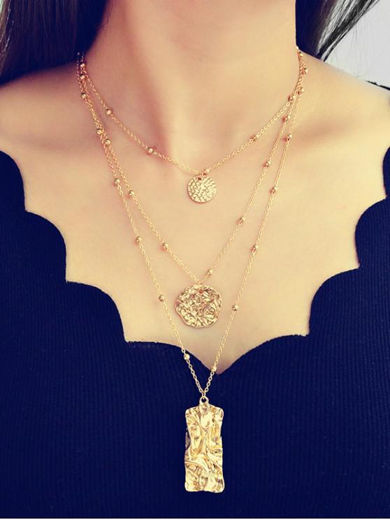 sale Geometric Crumpled Pendant Layered Necklace - GOLD