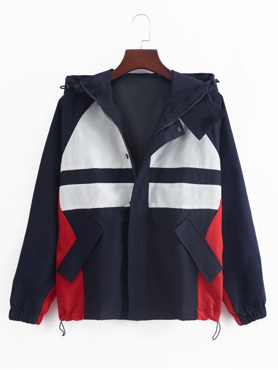 women's Raglan Sleeve Color Blocking Splicing Hooded Jacket - DENIM DARK BLUE XL