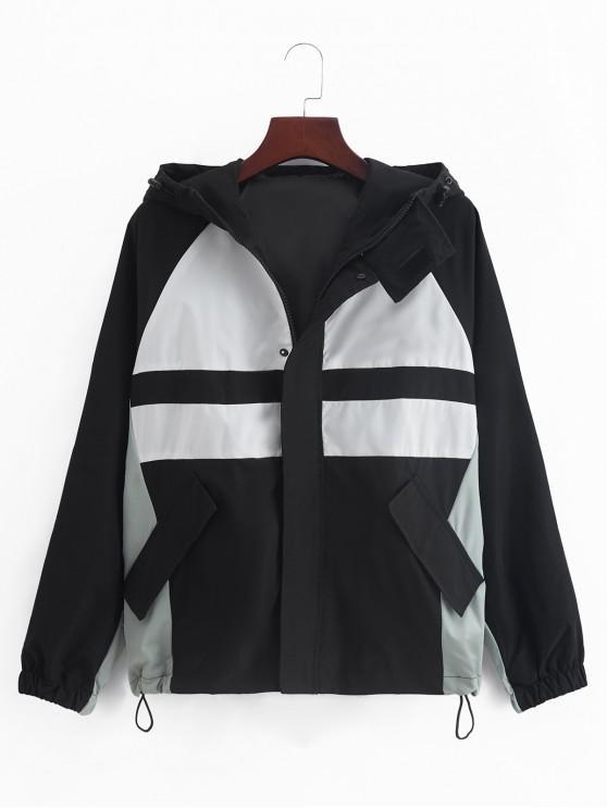 buy Raglan Sleeve Color Blocking Splicing Hooded Jacket - BLACK 3XL