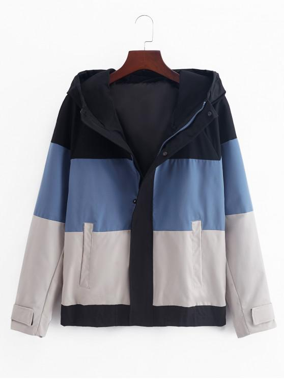 new Color Blocking Splicing Hooded Jacket - CORNFLOWER BLUE M