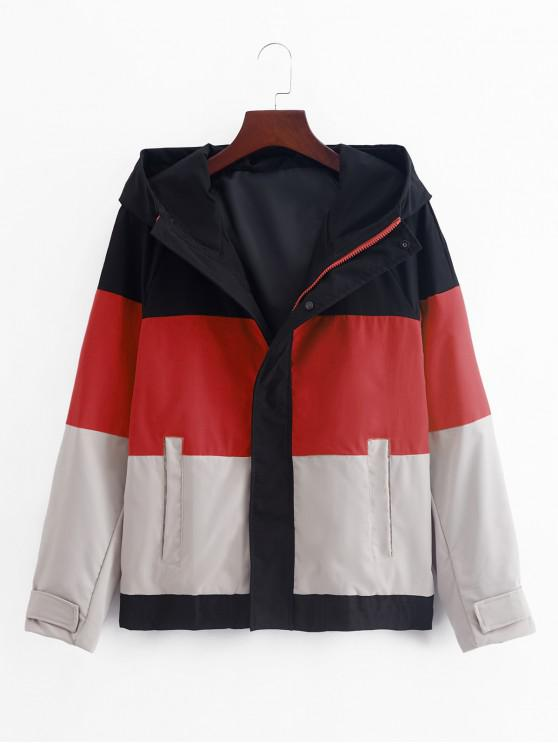 chic Color Blocking Splicing Hooded Jacket - LAVA RED L