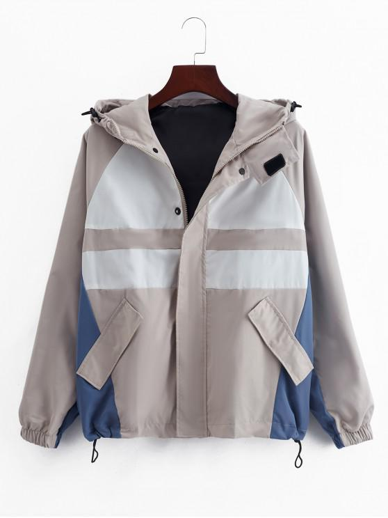 online Raglan Sleeve Color Blocking Splicing Hooded Jacket - BEIGE 3XL