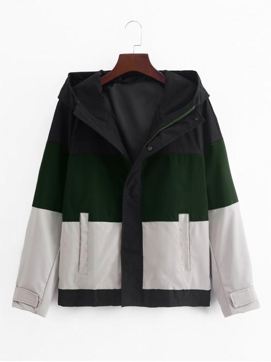 trendy Color Blocking Splicing Hooded Jacket - MEDIUM SEA GREEN L