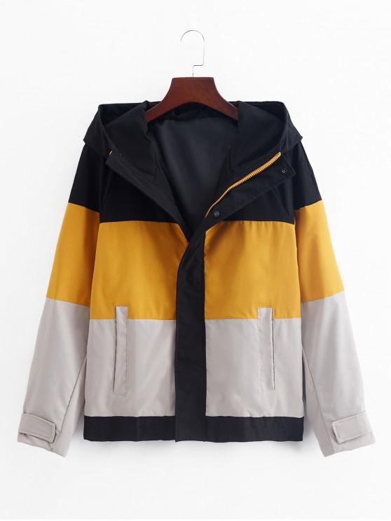 affordable Color Blocking Splicing Hooded Jacket - RUBBER DUCKY YELLOW 3XL