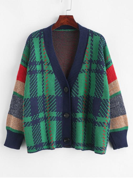 online Drop Shoulder Geometric Graphic Button Front Cardigan - MULTI-B ONE SIZE