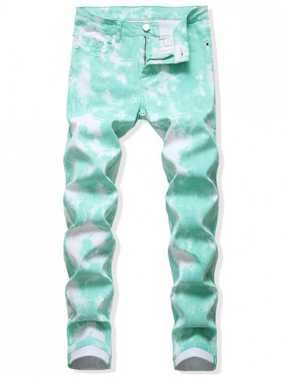 best Tie Dye Long Straight Zip Fly Jeans - MEDIUM TURQUOISE 38