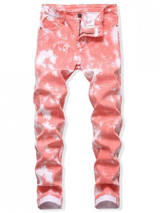 buy Tie Dye Long Straight Zip Fly Jeans - LIVING CORAL 38