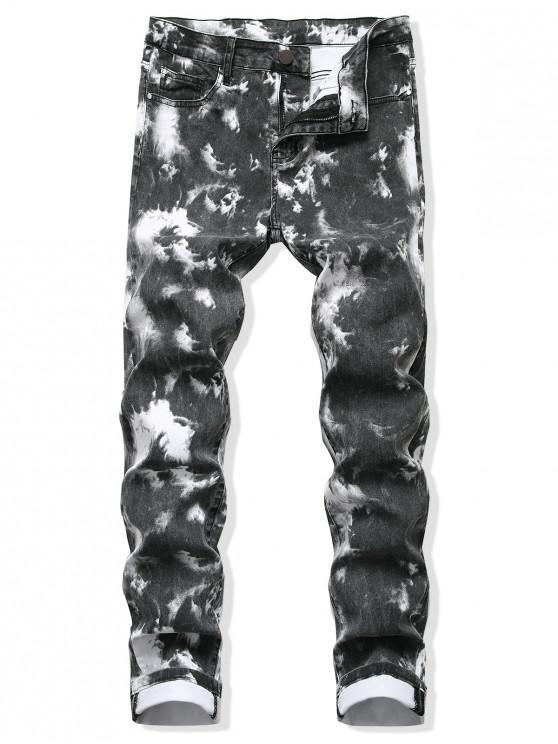 Tie Dye recta larga con cremallera y pantalones vaqueros - Gris Carbón 34