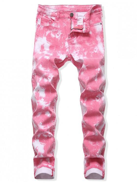 buy Tie Dye Long Straight Zip Fly Jeans - PINK CUPCAKE 36