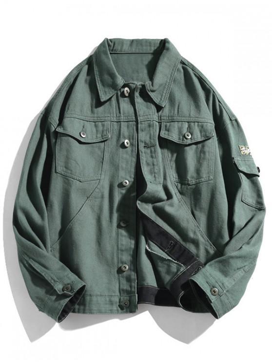 lady Camo Applique Button Up Cargo Denim Jacket - GRAYISH TURQUOISE 2XL