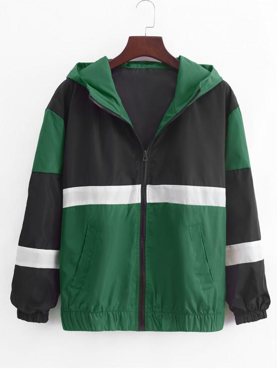fashion Color Blocking Spliced Zip Up Casual Hooded Jacket - GREENISH BLUE XL