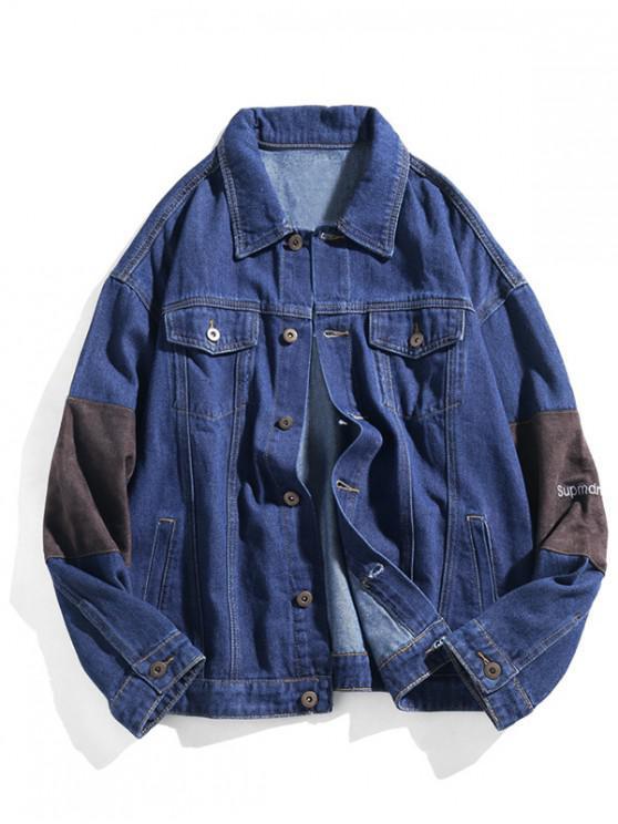 sale Letter Embroidery Button Up Patch Denim Jacket - DENIM DARK BLUE M