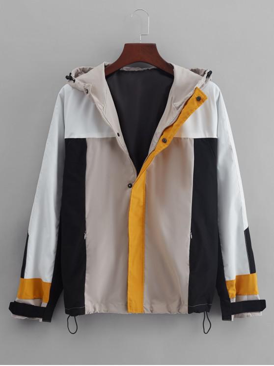 El bloqueo de color Panel de raglán de la manga de la chaqueta con capucha - Beige M