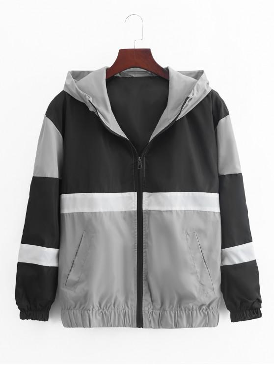 hot Color Blocking Spliced Zip Up Casual Hooded Jacket - GRAY CLOUD 2XL