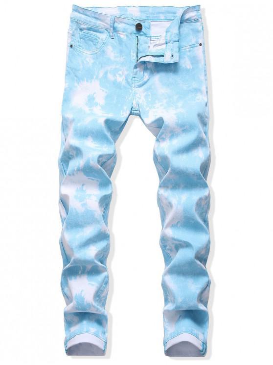 Tie Dye recta larga con cremallera y pantalones vaqueros - Azul Denim 42