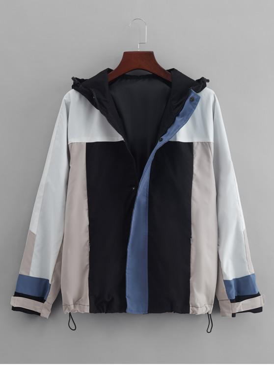 fashion Color Blocking Panel Raglan Sleeve Hooded Jacket - BLACK L