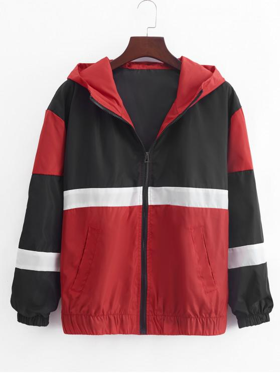 El bloqueo de color empalmado Zip Up chaqueta con capucha informal - Rojo Lava L