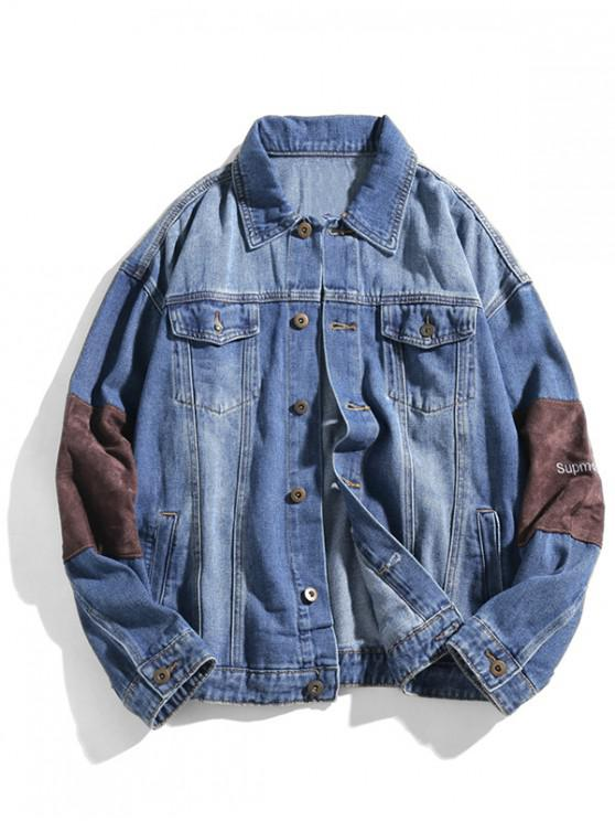 trendy Letter Embroidery Button Up Patch Denim Jacket - DENIM BLUE S