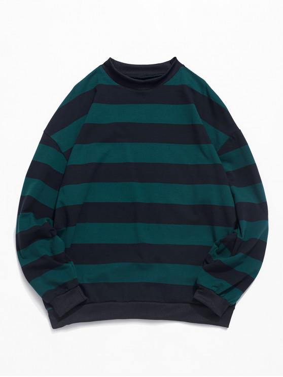 Modelo rayado informal Color empalmado con capucha - Azul Verde Guacamayo  2XL