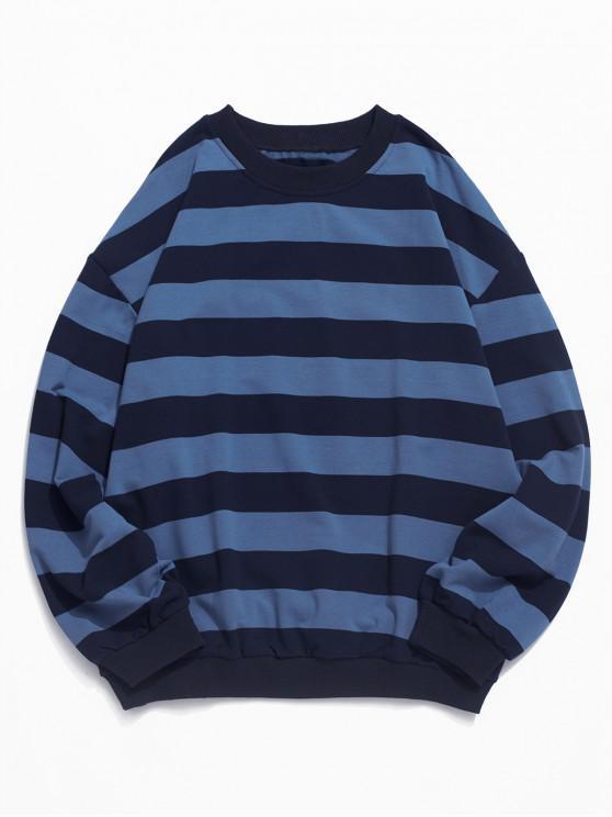 Modelo rayado informal Color empalmado con capucha - Azul 2XL