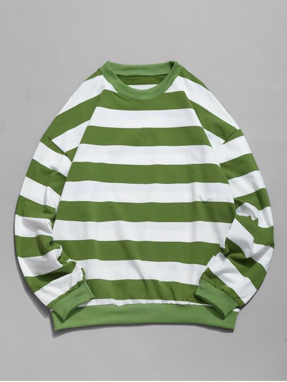 Modelo rayado informal Color empalmado con capucha - Verde 2XL