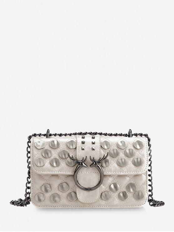 new Metal Studded Quilted Crossbody Bag - WHITE