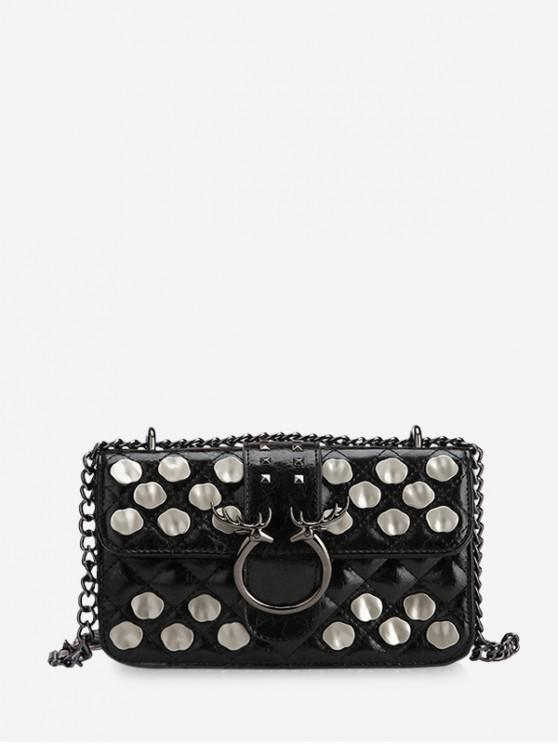 ladies Metal Studded Quilted Crossbody Bag - BLACK