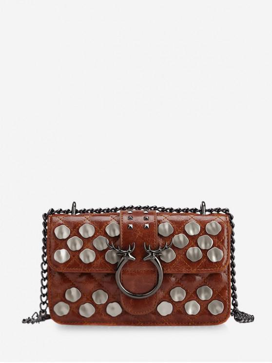 Tachonado de metal acolchado bolso de Crossbody - Marrón