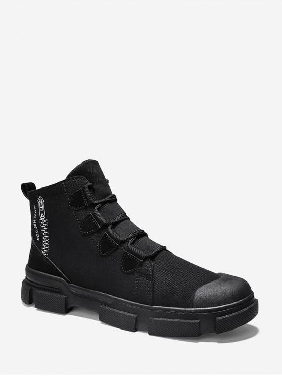 chic Zip Pattern Lace Up Canvas Boots - BLACK EU 44