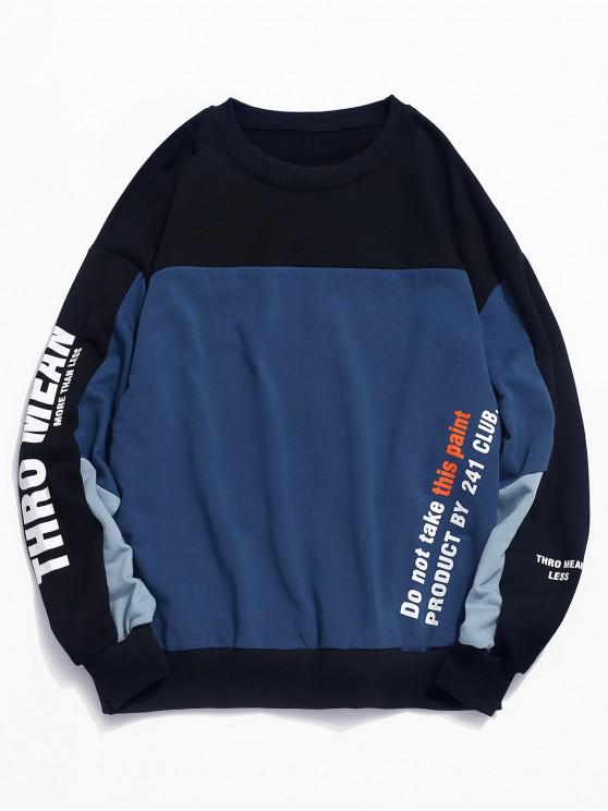 women's Letters Print Contrast Rib-knit Trim Sweatshirt - BLACK M